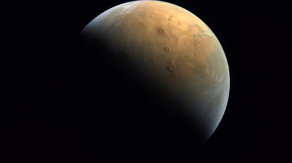 A view shows Mars in this handout picture taken after UAE's Hope Probe entered orbit in the first Arab Mars mission