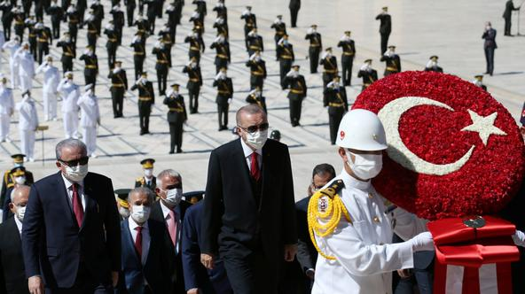 Turkish President Erdogan attends a Victory Day ceremony in Ankara