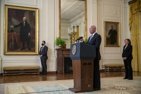 US President Joe Biden delivers remarks on the COVID-19 response and the vaccination program