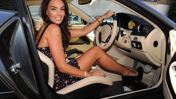 'Tamara Ecclestone poses with her new Ferrari 599 in south west London, to launch her Channel 5 show \'Tamara Ecclestone: Billion $$ Girl\', which starts in November. Photo: Press Association/Pixsell'
