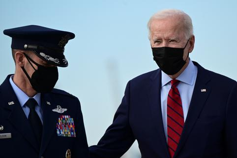 U.S. President Joe Biden boards Air Force One for a trip to Delaware