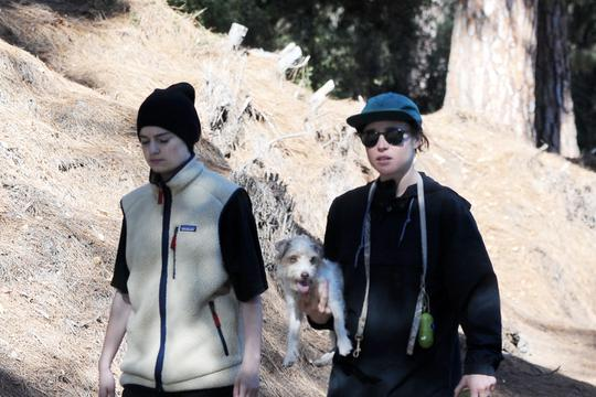 Ellen Page hikes through Franklin Park with her girlfriend and dog