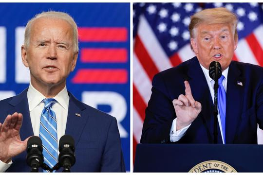 Combination picture of Democratic U.S. presidential nominee Joe Biden and U.S. President Donald Trump speaking about the early results of the 2020 U.S. presidential election, U.S.
