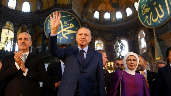 Turkish President Erdogan attends the opening ceremony of the Yeditepe Biennial at the Hagia Sophia or Ayasofya Museum in Istanbul