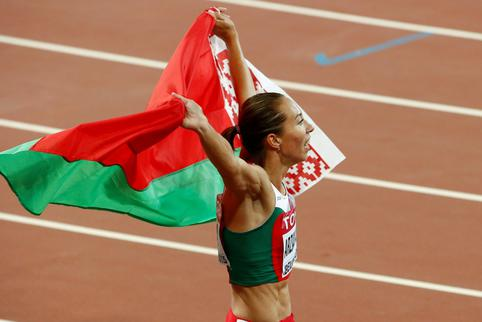FILE PHOTO: Arzamasova celebrates winning the women's 800 metres final at the 15th IAAF Championships in Beijing