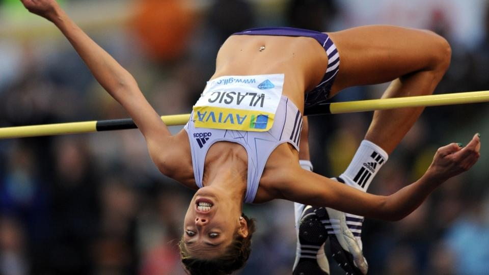 'Blanka Vlasic of Croatia competes during the Womens High Jump competition during the Samsung Diamond League meeting at Crystal Palace in London August 13, 2010. Vlasic won the compeition with a jump