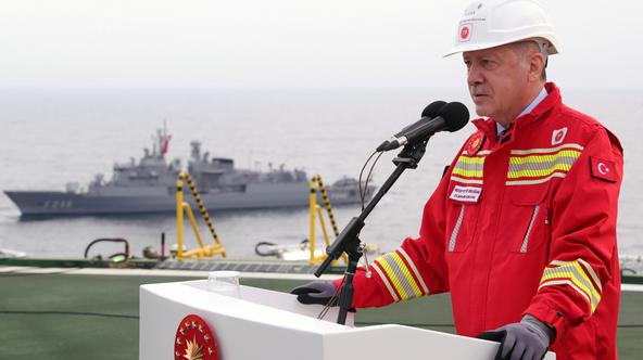 Turkish President Erdogan visits drilling vessel Fatih off Black Sea city of Zonguldak