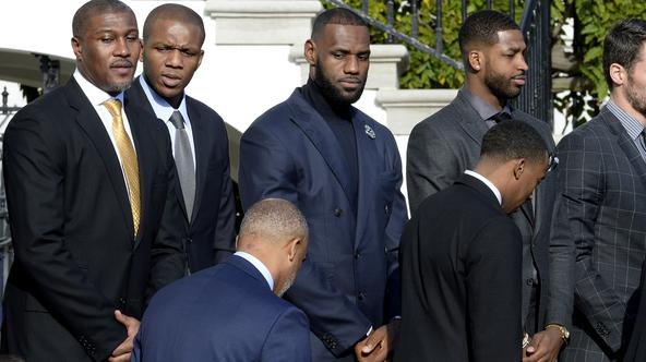 U.S. President Barack Obama welcomes the Cleveland Cavaliers to the White House - DC