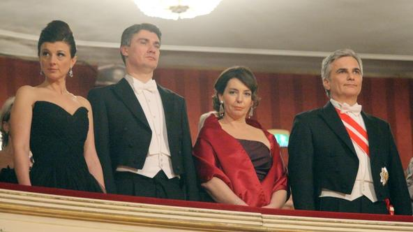 'Austrian Chancellor Werner Faymann (R) and his wife is pictured with Croatia\'s Prime minister Zoran Milanovic (2L) and his wife Sanja Music stand at the traditional Opera Ball on February 16, 2012 i