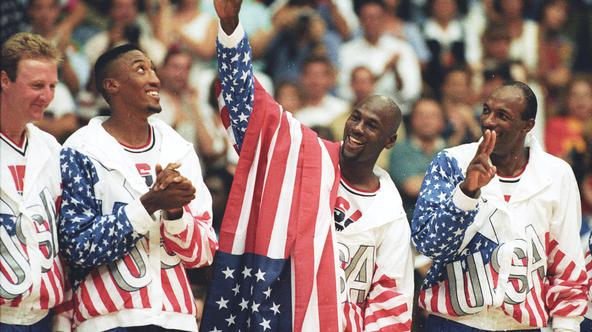 FILE PHOTO: U.S. basketball player Jordan flashes a victory sign as he stands with team mates Larry Bird, Scottie Pippen and Clyde Drexler after winning the Olympic gold in Barcelona