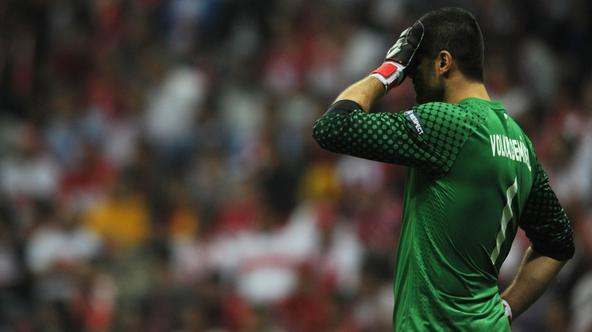 'Turkey\'s goalkeeper Volkan Demirel reacts during the UEFA Euro 2012 qualifying match Turkey vs Germany on October 7, 2011 at the Turkish Telekom Arena in Istanbul, Turkey. AFP PHOTO / PATRIK STOLLAR