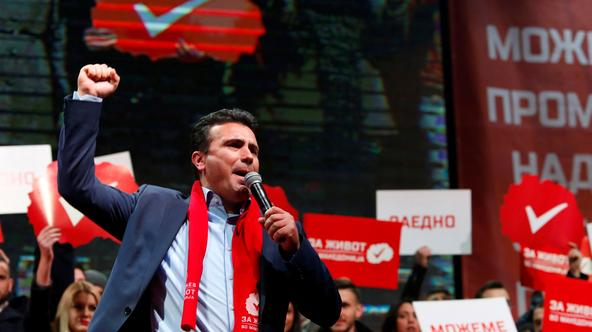 The leader of the biggest opposition party SDSM  Zaev greets supporters during a pre election rally in Skopje The leader of the biggest opposition party SDSM Zoran Zaev greets supporters during a pre election rally in Skopje, Macedonia December 4, 2016. R