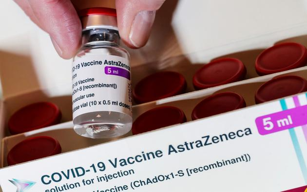 Vial with the AstraZeneca's coronavirus disease (COVID-19) vaccine is pictured in Berlin