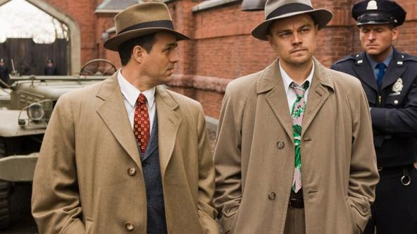 'Chuck Aule (Mark Ruffalo, left) and Teddy Daniels (Leonardo DiCaprio, right) are two detectives sent from the mainland to investigate a  mysterious disappearance on an island prison for the criminall