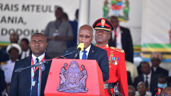Tanzania's re-elected President John Pombe Magufuli addresses delegates and supporters after he was sworn-in for the second term at the Jamhuri stadium in Dodoma