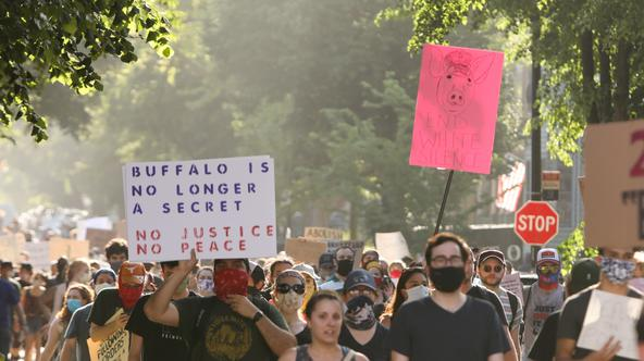 Demonstrators in Buffalo protest against the death in Minneapolis police custody of George Floyd