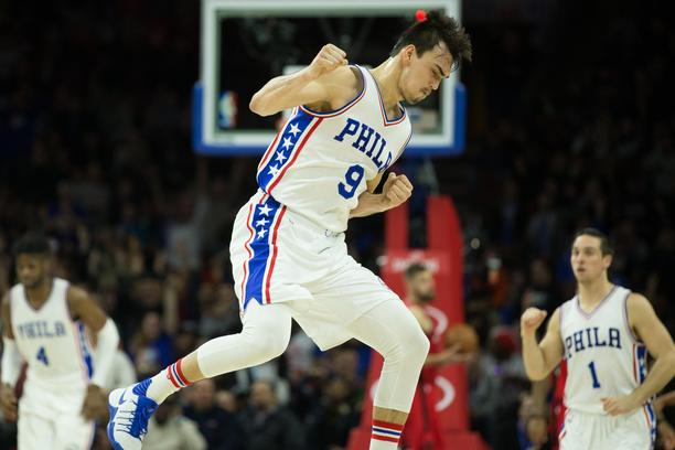 NBA: Toronto Raptors at Philadelphia 76ers Jan 18, 2017; Philadelphia, PA, USA; Philadelphia 76ers forward Dario Saric (9) reacts after hitting a three pointer against the Toronto Raptors during the fourth quarter at Wells Fargo Center. The Philadelphia 7