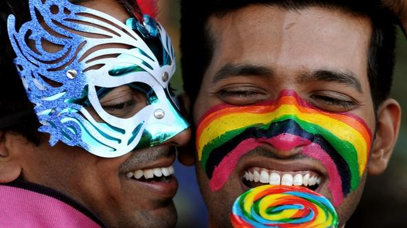 'Members of the LGBT (Lesbian, Gay, Bi-sexual and Transgender) community take part in the Bangalore Queer Pride Parade 2012 on December 2, 2012. The march marks the end of the annual 10-day Bengaluru
