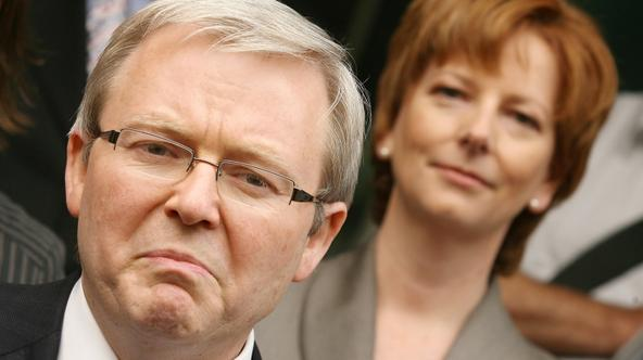'(FILES) New Labour leader Kevin Rudd (L) and his deputy Julia Gillard (R) speak to the media at a doorstop, in Melbourne  December 13 2006.  Australia\'s Julia Gillard became the country\'s first fem