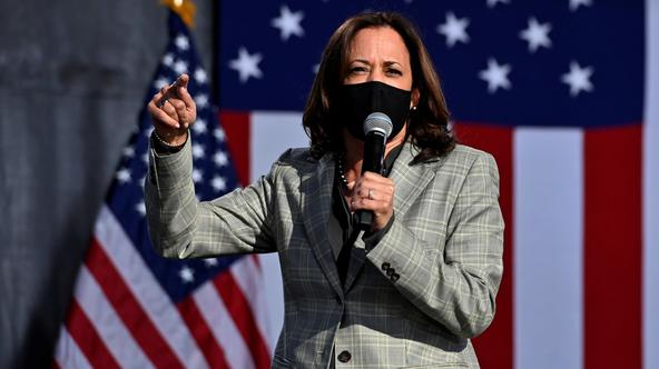 Democratic U.S. vice presidential nominee and Senator Kamala Harris speaks at a drive-in campaign event in Las Vegas