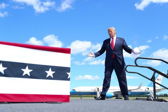 FILE PHOTO: U.S. President Trump speaks at Mankato Regional Airport during campaign travel to Mankato, Minnesota