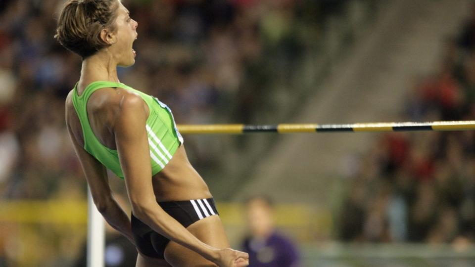 \'Croatia\'s Blanka Vlasic reacts during the women\'s high jump event at the Memorial Van Damme, IAAF Diamond League athletics final meet, in Brussels August 27, 2010.  REUTERS/Etienne Ansotte   (BELG