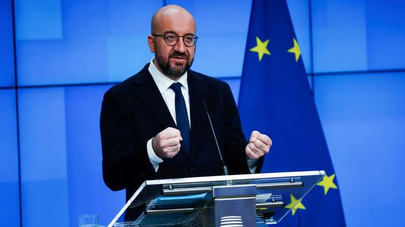European Council President Charles Michel and WHO Director General Tedros Adhanom hold online joint press conference on international pandemic treaty, in Brussels