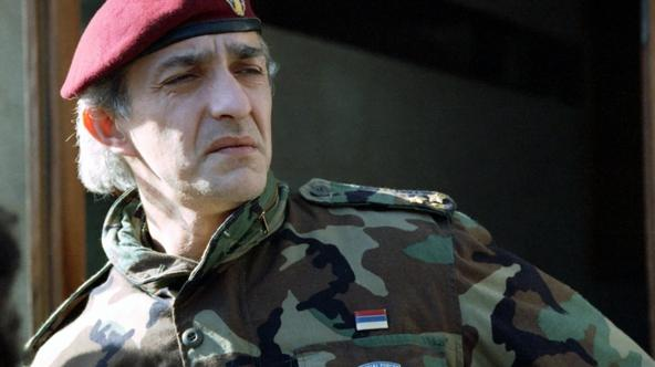 \'File picture shows former Serb commander Dragan Vasiljkovic in Knin, Croatia in February 1993. A former Serb commander, now an Australian citizen, charged with war crimes committed during Croatia\'s