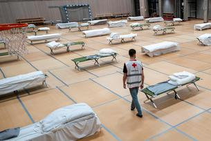 Beds for the homeless in the gym of Uranienborg School in Oslo