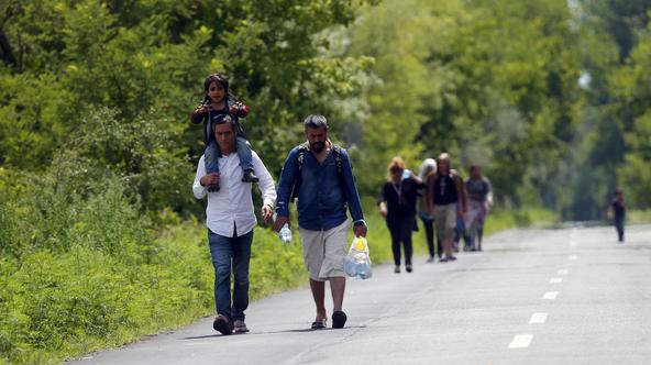 Migrants from Syria walk along a road after crossing illegaly the border between Serbia and Hungary, near Morahalom, Hungary July 14, 2015. Hungary started building a fence along its border with Serbia to try to stop illegal migrants entering from the sou