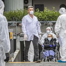Bergamo Coronavirus - Covid patients arrive from hospitals at the Cristal Palace Hotel