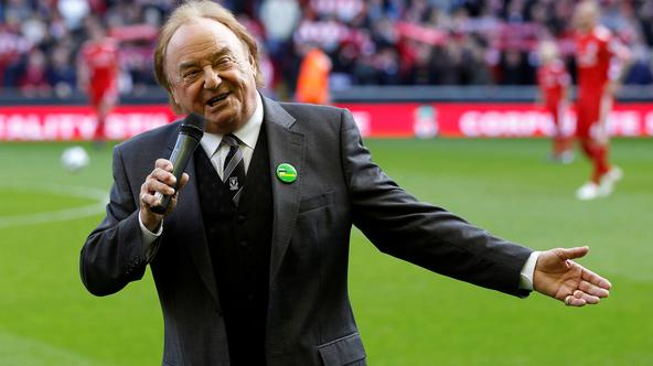 FILE PHOTO: Liverpool supporter and singer Marsden sings before their English Premier League soccer match against Blackburn Rovers at Anfield in Liverpool