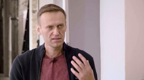 Russian opposition politician Navalny attends an interview with a prominent Russian YouTube blogger in Berlin
