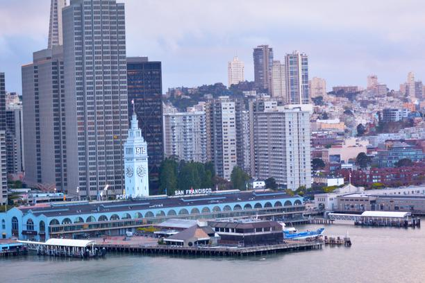 San Francisco Ferry Building with SF financial center downtown