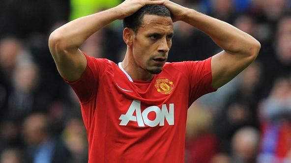 'Manchester United\'s English defender Rio Ferdinand reacts during the English Premier League football match between Manchester United and Everton at Old Trafford in Manchester, north-west England on