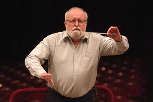 Polish composer Krzysztof Penderecki during a rehearsal at the National Philharmonic in Warsaw