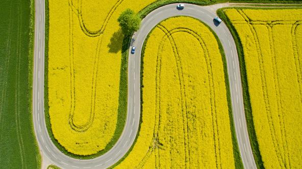 An aerial view of cars making their way through flowering canola fields on a serpentine section of the L401 highway near Nienstedt, Germany, 12 May 2016. Photo:?JULIAN?STRATENSCHULTE/dpa/DPA/PIXSELL