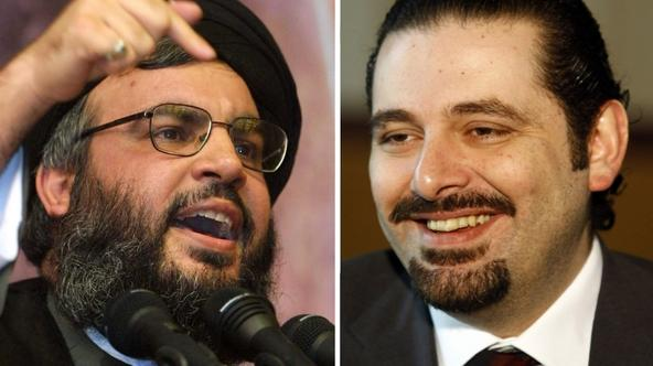 'This combo shows portraits of Lebanese Prime Minister Saad Hariri (R)  at his office in Beirut on March 16, 2009 and Hezbollah leader Hassan Nasrallah, giving a speech in the southern suburbs of the