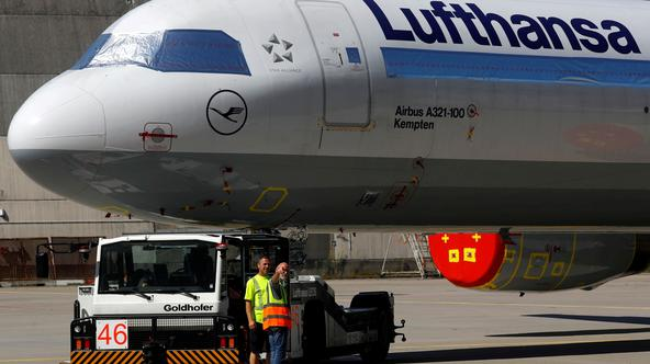 FILE PHOTO: A Lufthansa aircraft at the airport in Frankfurt, Germany