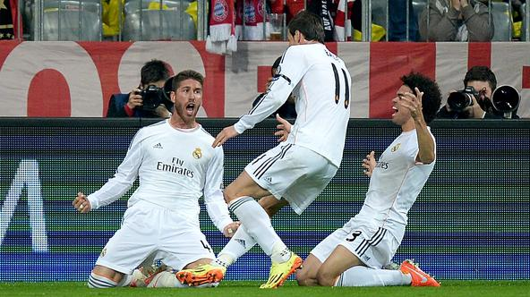 Soccer - UEFA Champions League - Bayern Munich v Real Madrid - Allianz ArenaReal Madrid's Sergio Ramos (left) celebrates scoring his side's first goal of the gameAndrew Matthews Photo: Press Association/PIXSELL