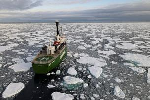 Greenpeace's Arctic Sunrise ship navigates through floating ice in the Arctic Ocean