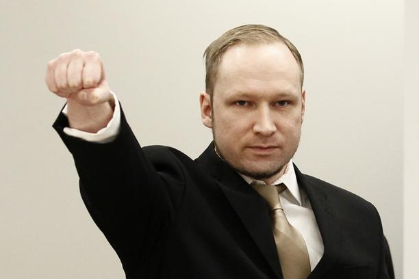 'Anders Behring Breivik clenches his fist as he arrives at the courtroom for the first day of his trial  in Oslo in this April 16, 2012 file photograph. As the trial of Breivik comes to an end, Norway