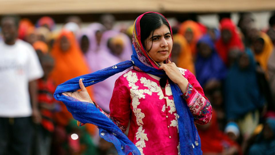 Pakistani Nobel Peace Prize laureate Malala Yousafzai attends celebrations to mark her 19th birthday at the Juba Sports Complex in Dagahaley area of Dadaab refugee camp near the Kenya-Somalia border, July 12, 2016. REUTERS/Thomas Mukoya?
