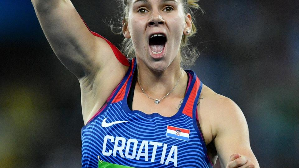 Sara Kolak of Croatia celebrates after winning the Women's Javelin Throw Final of the Olympic Games 2016 Athletic, Track and Field events at Olympic Stadium during the Rio 2016 Olympic Games in Rio de Janeiro, Brazil, 18 August 2016. Photo: Lukas Schulze/