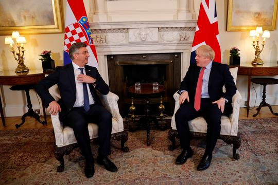 Britain's PM Boris Johnson meets Croatia's Prime Minister Andrej Plenkovic at Downing Street in London