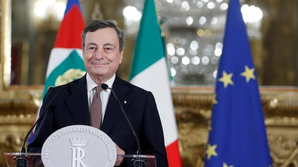 Incoming Italian Prime Minister Mario Draghi speaks to the media after meeting with Italian President Sergio Mattarella, in Rome