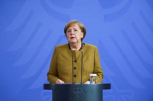 German Chancellor Angela Merkel gives a statement, in Berlin