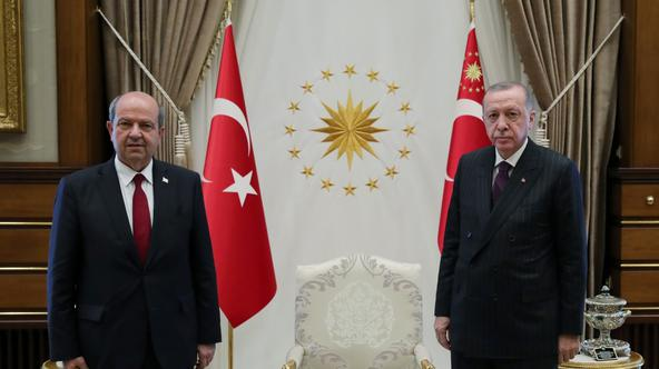 Turkish President Erdogan meets with Tatar, prime minister of the breakaway state of Northern Cyprus, in Ankara