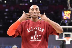 Feb 14, 2016; Toronto, Ontario, CAN; Western Conference forward Kobe Bryant of the Los Angeles Lakers (24) blows kisses before the NBA All Star Game at Air Canada Centre. Mandatory Credit: Bob Donnan-USA TODAY Sports      TPX IMAGES OF THE DAY       Pictu