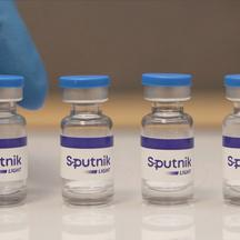 A handout photo shows samples of Sputnik Light COVID vaccine
